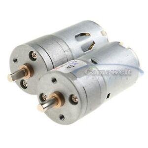 2 x 12V 1000RPM 25MM Mini Torque Gear Box Motor Hobby DC NEW