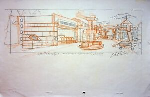 The Simpsons Production SIGNED CHRIS BOLDEN Hand Drawn BLOCKLAND Main Street