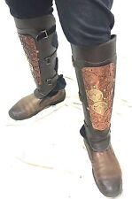 SDL Steampunk One Pair (2pcs)  Cogs Metal Leg Armour With Leather Look,