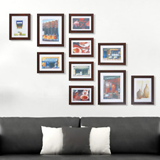 KARMAS 10pc Wood Picture Frames Lot Wall Hanging Photo Poster Collage Set Home