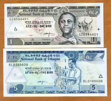 SET Ethiopia, 1;5 Birr, 2006-2013, P-46-47, UNC