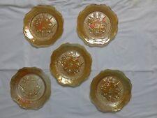 Vintage Carnival Glass Saucer, Iris Iridescent by Jeannette, Marigold, FS