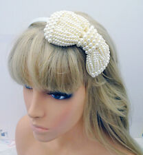 Gorgeous Large Faux Pearl Bow Alice Band Headband Hair Band Fascinator in Ivory