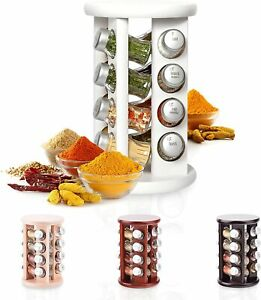 Wooden Spice Rack with Spices Included | Rotating Organiser Handmade 16 Jars New