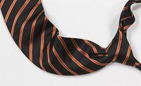 New! Brioni Current Black/Orange Twill Striped Handmade Silk Necktie Tie