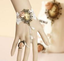 New Handmade White Lace Rose Bracelet Ring sets Women Girl Dancing Party Jewelry