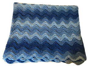 Handmade Crochet Blanket Lap Throw Afghan Chevron Striped- Blues
