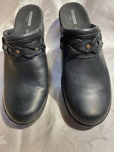 Clarks E Doreen New Black Leather Backless Clogs With Designs Size 12/44 W