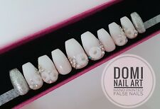 Hand Painted False Nails Coffin Stiletto Ombre Pink & White Flowers Diamante