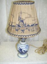 ANTIQUE BLUE AND WHITE DELFT LAMP WITH ORIGINAL LAMP SHADE SCENIC WINDMILL