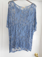 """""""Saldarini"""" Blue Lagenlook Made in Italy Lacy Long Tunic Fits Sizes Up to UK 22"""