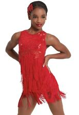 Figure Skating Dress Dance Costume Sleeveless Sequins with Fringes 2 colors
