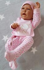 3tlg Set Frühchen Reborn Strampler Schlafanzug Mütze Lätzchen Häschen Rosa 44 48