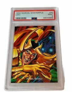 Marvel Masterpieces Comic Card Sky Box PSA 9 Loki 1992 RARE #50 rookie rc Thor