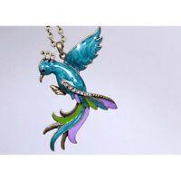 Kette Paradiesvogel Halskette lang bunt silber großer Anhänger Statement Style