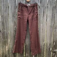 Elevenses Anthropologie Women's Size 2 Brown Linen Blend Wide Leg Eyelet Pants