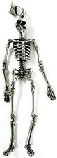 HUGE DANGLING SKULL SKELETON STERLING 925 SILVER MENS BIG PENDANT
