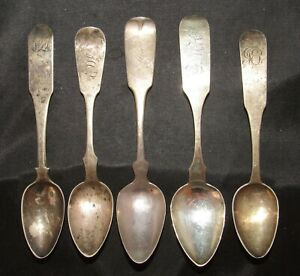 Lot of 5 Early American Coin Silver Spoons
