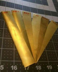 "brass Shim Stock assortment 0.001 0.0015 0.002 0.003 0.004 0.005 1""x6"" 6 pieces"