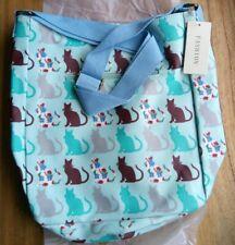 BNWT Oil cloth Cats Print Cross Body Shoulder Messenger School Book Bag Blue