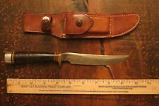 Vintage Custom Handmade Randall Model 7-5  Hunting Knife & Brown Button Sheath