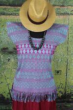 Turquoise & Magenta Hand Woven Huipil Backstrap loom San Juan Yaeé Mexico Hippie