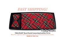 RED PLAID Tuxedo Cummerbund Bow Tie NEW REAL PLAID CBP7