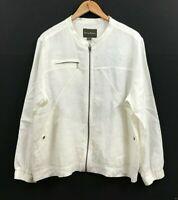 Tommy Bahama Women's White Linen Jacket Long Sleeve Full-Zip sz XL