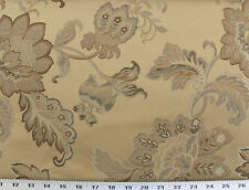 Drapery Upholstery Fabric Jacquard Floral - Copper, Brown, Chanpagne on Dk. Gold