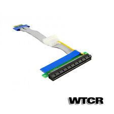 PCI Express Extender Ribbon Cable (19cm) PCIe 16x - 1x Video Card GPU w/ Molex!