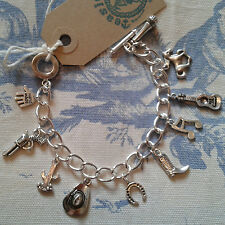 HAND MADE paese & cowboy western line dance ispirato Argento Bracciale con Charm