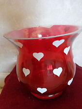 Teleflora Red Vase Decorated with Little White Hearts (#1085)