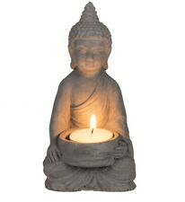 Sitting Buddha Tea Light Holder Indoor Garden Outdoor Statue Ornament
