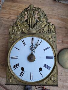 Mouvement Ancien Comtoise Pendule  Napoléon III à  2 Marteaux balancier lentille