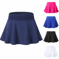 Women's Athletic Tennis Skirt Running Training Golf Workout Skort Solid Color