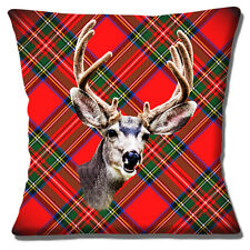 """NOVELTY STAG HEAD ON RED TARTAN PHOTO PRINT FUNNY SMILE 16"""" Pillow Cushion Cover"""