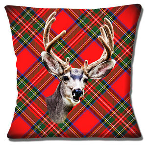 "NOVELTY STAG HEAD ON RED TARTAN PHOTO PRINT FUNNY SMILE 16"" Pillow Cushion Cover"