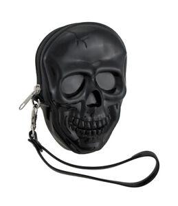 Zeckos Glossy Black Molded Skull Shaped Wristlet Purse w/Removable Strap