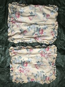 Ralph LAUREN Vintage FLORAL Ruffled Pillow Standard SHAMS French Country pair