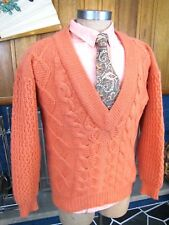 HARRIS WILSON Low V Neck Oversized Sweater Vintage Preppy 1980s Wool Cable Knit