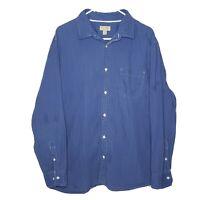 Sonoma Casual Poplin Blue Men's Size XL Full Button Front Long Sleeve Shirt