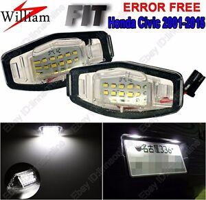2 Bulbs Xenon White LED License Plate Lights For Honda Civic 2001-2015