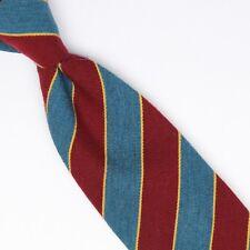Josiah France Mens Wool Silk Necktie Green Burgundy Gold Repp Stripe Weave Woven