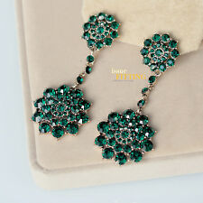 Boucles d`Oreilles Clips Pince Cristal Floral Vert Emeraude Baroque Mariage J8