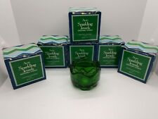 Vtg Avon Sparkling Jewels Green Candle Soft Stackable Nib set of 6
