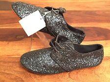 Nuevo Zara Niños Niñas Azul Brillante con Cordones Zapatos de salón oxford Fiesta UK2.5 EU35