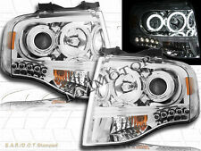07-13  Ford Expedition Chrome Housing Dual CCFL Halo Rims LED Projector Headligh