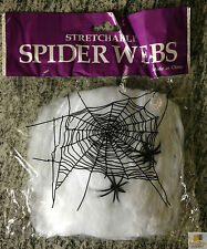 Stretchable Spider Web Spooky Halloween Decoration W 2 Spiders Party Decor