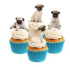 Novelty Cute Pug Puppy Mix 12 Edible Stand Up wafer paper cake toppers birthday