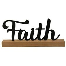 FAITH Metal Word Wood Wooden Sign Freestanding Primitive Country Rustic Black